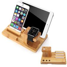 Homemade Phone Stand by Apple Watch Stand Splaks Bamboo Wood Charge Dock Amazon Co Uk