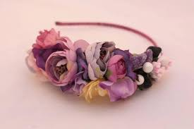 handmade hair accessories purple flower headband flower crown shabby chic headband hair