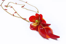 red flower necklace images Red flower charm necklace handmade acrylic jewellery by enna png