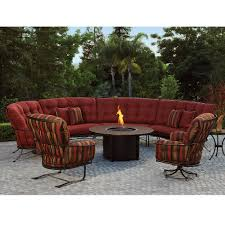 ow lee monterra curved outdoor sectional set with fire pit table