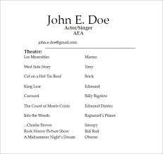 musical theatre resume exles 2 acting resume exle exles of resumes