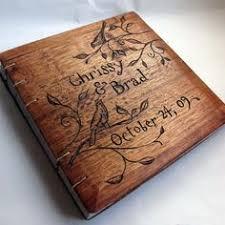 wood photo album burned wood wedding guestbook craftbnb