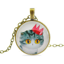 fashion vintage jewelry sweet cat glass cabochon pendant necklace