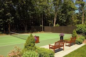 backyard with tennis court landscape tropical with bluestone patio