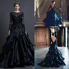 gorgeous black long sleeve wedding dresses gown 2015 winter sheer