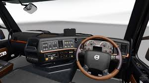 volvo 10 wheeler truck black and brown interior of the volvo for euro truck simulator 2
