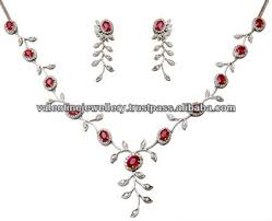 handmade designer jewellery leaf design gold diamond necklace set ruby gold diamond designer