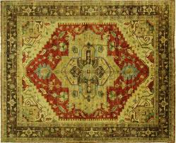 Green And Brown Area Rugs Antique Washed Red U0026 Green 12 U0027x15 U0027 Heriz Serapi Hand Knotted Wool