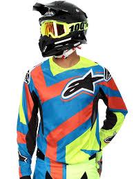 motocross jersey alpinestars blue yellow fluorescent red 2016 techstar factory mx