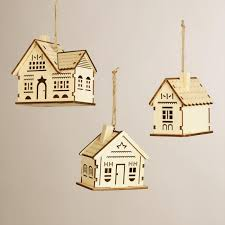 laser cut wooden house ornaments set of 3 world market