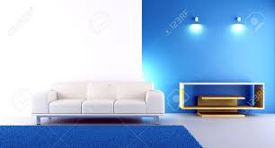 living room setting couch to face a blank wall stock photo