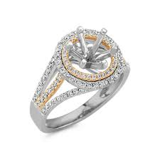 two engagement ring halo engagement ring in two tone gold with pav eacute