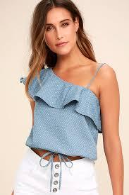 shoulder tops blue chambray top polka dot top one shoulder top crop