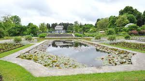 water pond and ornamental courtyard in munich botanic garden