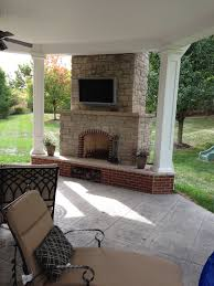 Lowes Outdoor Fireplace by Chesterfield Mo Covered Patio Makeover Poynter Landscape