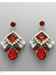 ruby drop earrings ruby rhinestone deco drop earrings blue velvet vintage