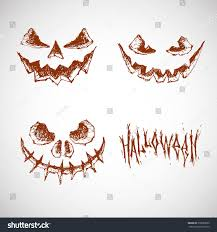 halloween background white set hand drawn sketches halloween terrible stock vector 318980090