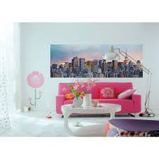 ideal decor 50 in x 144 in new york skyline wall mural dm370 new york skyline wall mural