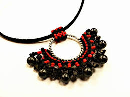 red chain necklace images Fan pendant beadwork necklace jewellery making kit with swarovski jpg