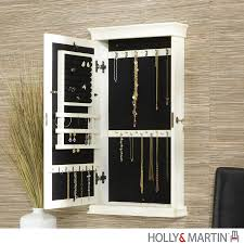 Jewelry Wall Hanger Decor Endearing White Wood Stained Jewelry Armoire Walmart Best
