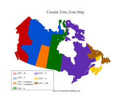 canadian map with time zones time zone map