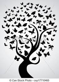 isolated black butterfly tree on white background clip vector