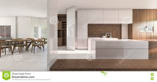 3d rendering nice kitchen and dining room in warm atmosphere stock