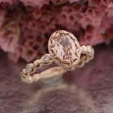 morganite gold engagement ring floral morganite engagement ring in 14k gold diamond