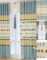 Baby Blue Curtains Baby Blue Yellow Jacquard Polyester Curtains