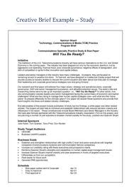 Resume Examples Pdf Free Download by Creative Brief Example Study