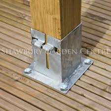 Pergola Post Anchor by Grange Metpost Galvanised Bolt Down Post Anchor 95mm