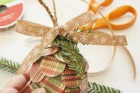 repurposed paper pine cone ornaments diy inspired