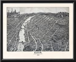 Elgin Illinois Map elgin il 1880 vintage city maps restored city maps