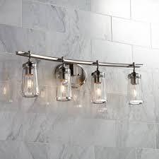 brushed nickel bathroom light fixtures poleis 4 light 32 wide brushed nickel bath light 9g441 ls plus