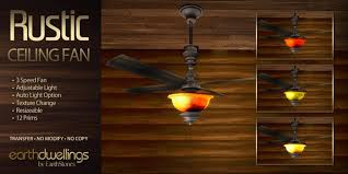 Ceiling Fan With Adjustable Lights by Second Life Marketplace Earthdwellings Rustic Ceiling Fan Boxed