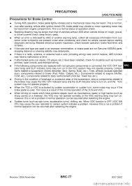 nissan 350z yaw sensor warning nissan 350z 2007 z33 brake control system workshop manual