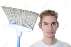 young white caucasian male janitor custodian employee smiles