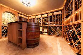 Wine Tasting Table Stone Tile Floor And Wine Barrel Built Into The Tasting Table