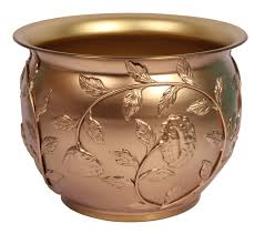 Metal Home Decor Wholesale Planter Pot With Engraved Leafy Motifs U2013 Handmade In Brass