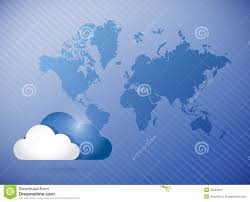 World Cloud Map by Cloud Computing World Map Concept Illustration Royalty Free Stock