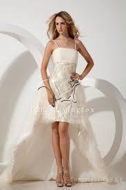 short beach wedding dress with spaghetti straps sang maestro