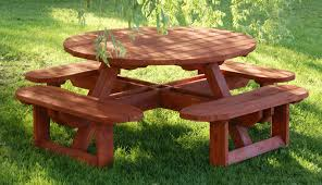 wood picnic table bench outdoorlivingdecor