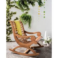 Patio Rocking Chairs Wood Safavieh Sonora Teak Brown Outdoor Patio Rocking Chair Pat7016b