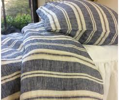 100 Linen Duvet Cover Nautical Striped Duvet Cover Natural Linen Navy And White Stripe