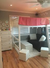 full sized loft bed with seating area twin teen girls u0027 room