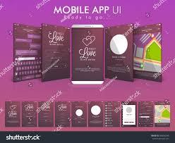 map login material design ui ux gui screens stock vector 396656245