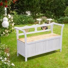 homcom garden patio wooden wood seat bench chair storage cabinet box