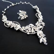 gold crystal bridal necklace images Beaded bridal necklace pearl bridal earrings bridal jewelry set jpg