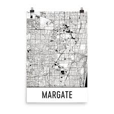 Margate Florida Map by Margate Florida Street Map Poster Wall Print By Modern Map Art