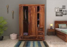 Wooden Wardrobe Price In Bangalore Cambrey 3 Door Multi Utility Wardrobe Teak Finish
